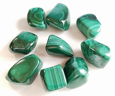 Large Green TUMBLED MALACHITE Crystal Rock specimens, green stones, (5 pieces)