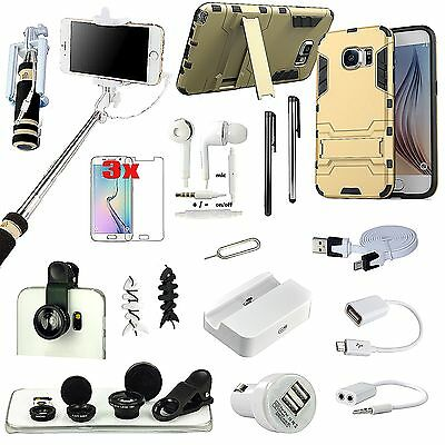 Kickstand Case Cover Selfie Stick Fish Eye Lens Accessory For Samsung Galaxy S6