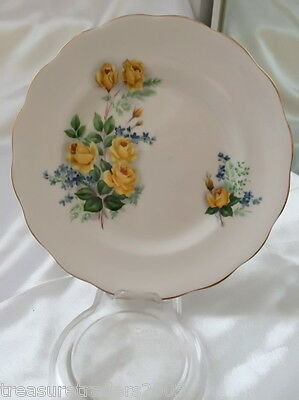 ♡ Royal Standard Bone China Side Plate Yellow Roses Forget Me Nots Gold Edge