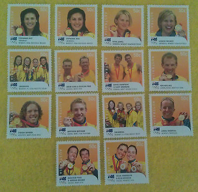 2008 Olympics full set 14 Australian GOLD medal winners individual MNH stamps