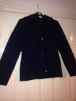 Girls Navy Quilted M&s Coat Age 13
