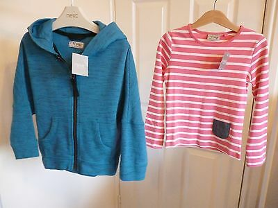 NEW Girls NEXT Turquoise hoody top & long sleeved stripy top PINK white 4-5 yrs