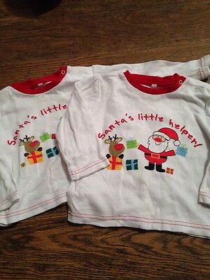 Twins 2 X Christmas Tops Age 9-12 Months
