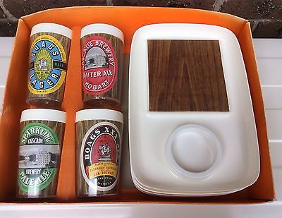 Vintage plastic beer glasses Boags Cascade Tasmanian brewery BBQ plates new old