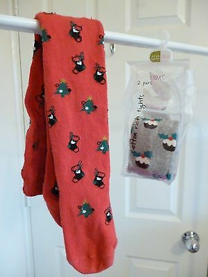 NEW Girls NEXT CHRISTMAS Tights pack x 2 puddings and stockings & Trees age 2-3