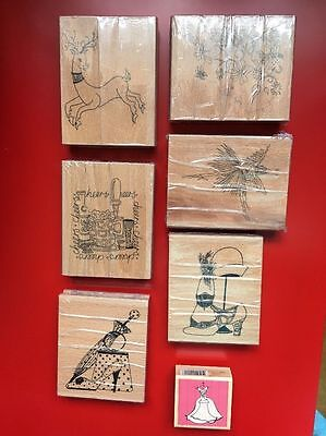 Set of seven crafting rubber stamps - NEW
