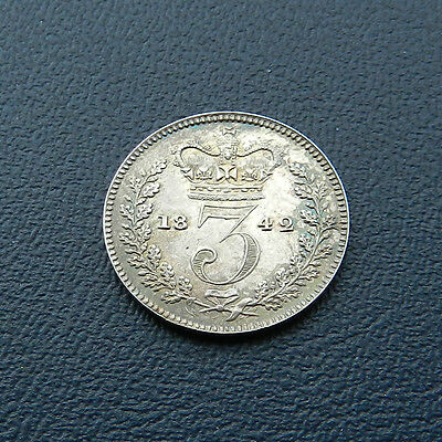 1842 Victoria Silver Threepence Extremely Rare Key Date