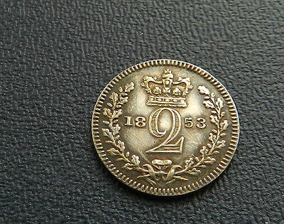 1853 Victoria Proof Maundy Twopence Alignment Axis Extremely Rare