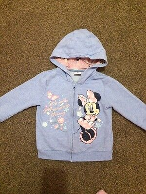 Toddler Girl Minnie Mouse Hooded Zip Up Jacket Age 2-3 Years