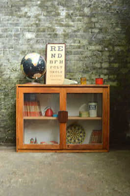 Vintage Mid Century Industrial Wooden Glazed School Cupboard Cabinet Kitchen