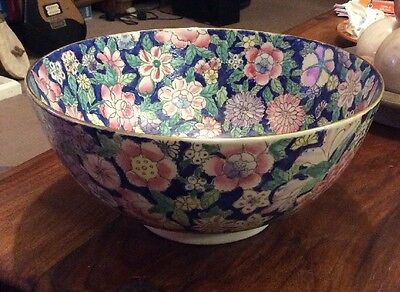 Large Chinese Blue Floral Bowl, Famille Rose?