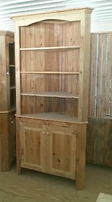 Amish Built Unfinished Reclaimed Barn Wood Corner Hutch Cabinet - Open Top- 30""