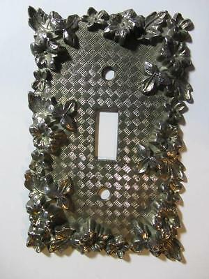 Vintage American Tack & Hdwe Co - 1967 Metal Morning Glory Switchplate