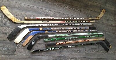 mixed ice skate roller hockey sticks left and right