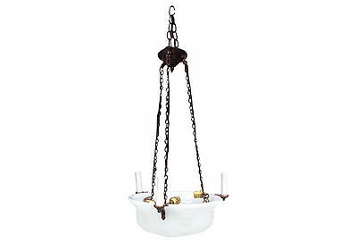 Remains Lighting Antique Opaline Glass Inverted Dome Chandelier