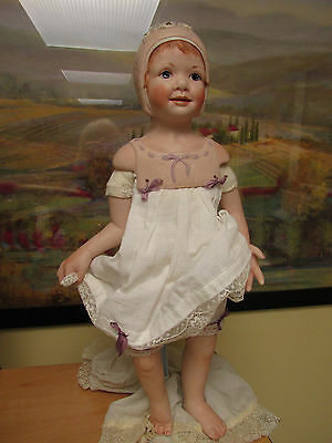 Hanna doll by Michele Severino with Bisque floral trim bonnet RARE