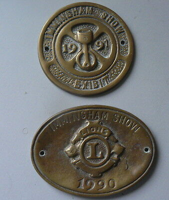 Two brass plaques from Immingham Show (Lincolnshire), 1990 and 1991