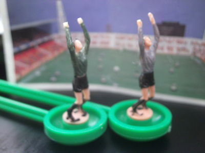 Two Subbuteo Lightweight Goalkeepers In Green And Grey Jerseys **vgc**