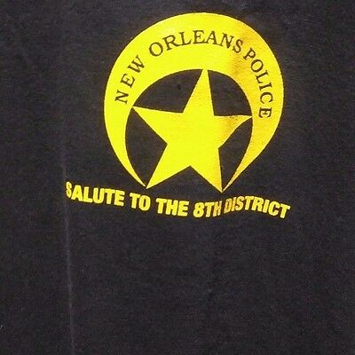 New Orleans Police Department 2XL Black T Shirt Salute to the 8th District Logo