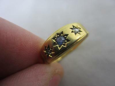 Antique Victorian Chester 18k / 18ct gold sapphire spinel diamond ring E4029