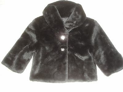 Lovely Girls Black faux fur jacket - Age 9