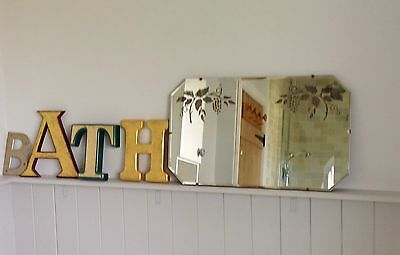 Beautiful Old Vintage Art Deco Octagonal Frameless  Mirror with Bevelled Edge