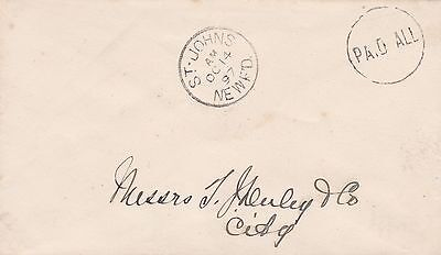 Newfoundland 1897 Paid All Cover on St. John's Drop Letter