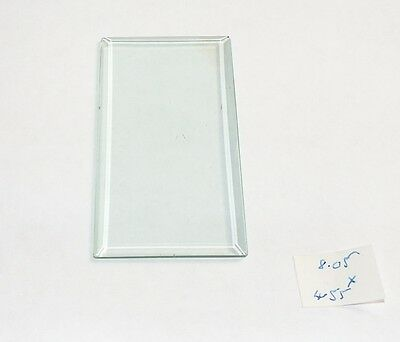 Bevelled clock glass for carriage clocks or similar - 8.05 cms x 4.55 cms
