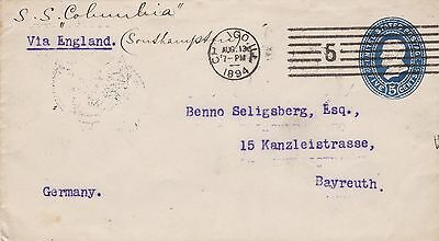 USA 1894 5c PSE to Bayreuth Germany via Columbia Hamburg America Line