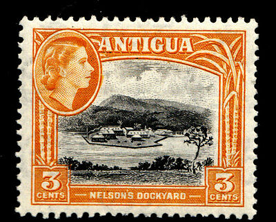 Antigua 1954 LMM Nelson's Dockyard 3c Orange.