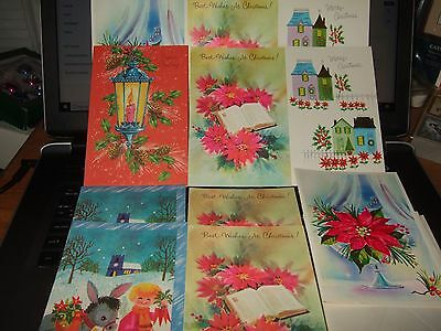 lot 11 vintage christmas greeting cards unused w/ envelopes USA 60s 70s house +