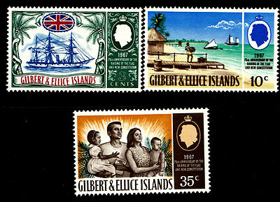 Gilbert & Ellice Is. 1967 SG#132-4, 75th Anniv The Protectorate (3v) MNH