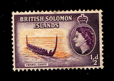 Solomon Islands 1954 Queen Elizabeth II FU HalfPenny Ysabel Canoe.