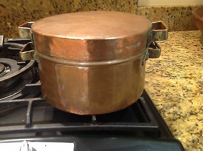 Antique / Vintage copper lead lined lidded cook pot with handles