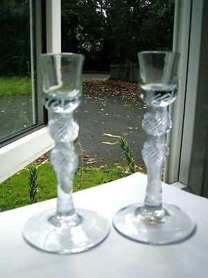 Georgian Newcastle glass MSAT multi spiral air twist stem candlesticks C1750