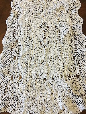 "Vintage Crochet Lace Table Runner Dresser Scarf Doiley White 13.5""x70"" GORGEOUS"