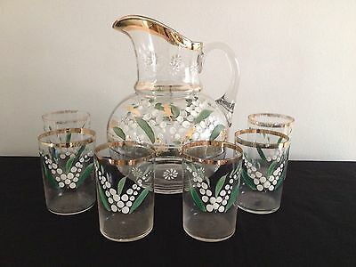 Antique Victorian Fenton Glass Water Pitcher 6 Glasses Set Lily of the Valley