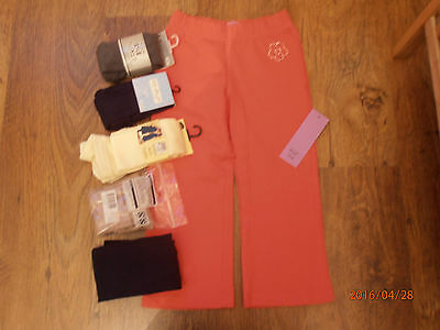 BNWT Girls Pink Joggers Pants and 5 Pairs of Tights Bundle, Age 3-4 years