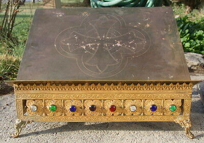 antique vintage jeweled brass family Bible stand