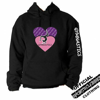 Love Gymnastics Black Hoodie Sweatshirt 5-15 YRS (2H)