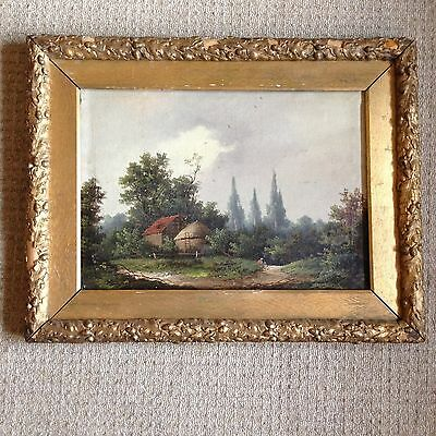 Signed Oil on Canvas - Landscape with Cottages - Needs Minor TLC