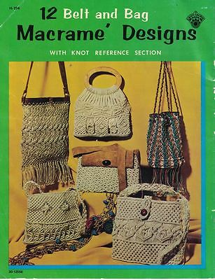 Craft Course 1971 Macrame 12 Belt & Bag Designs w/ Knot Reference Section