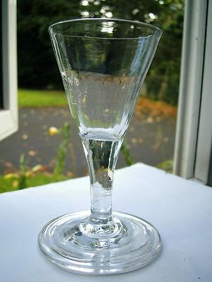 Antique Georgian Gin glass 1/2 fluted funnel bowl folded foot C1780