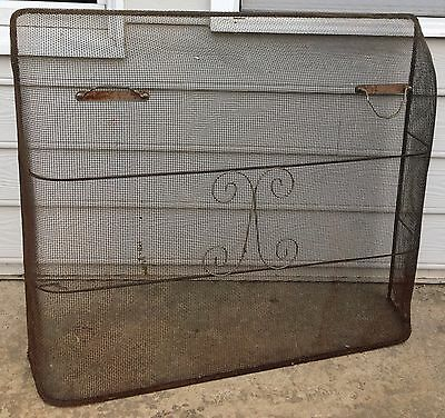Vintage Antique Fireplace Screen / Ember Guard Wire Mesh w/ Handles Rustic Charm