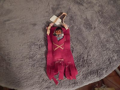 """Vintage 4"""" Skookum Papoose in Red Feh Pouch.  1920's"""