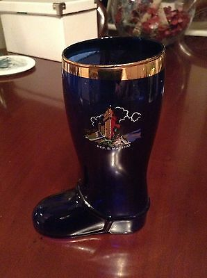 Vintage Blue And Gold Glass Boot From San Marino, Italy