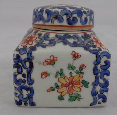Antique French Porcelain Ink Well Square Shape Chinese Look Hand Painted 19th C