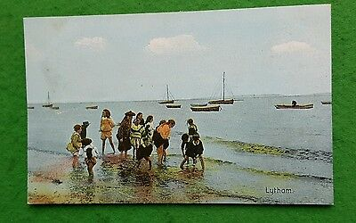 An Old Shurey Postcard of Paddlers on Lytham Beach