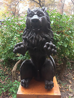 **Antique- One Of A Kind Hand Carved Lion Stairway Newel Statue**