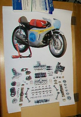 Honda Racing Motorcycle With Racing Engine Parts Poster